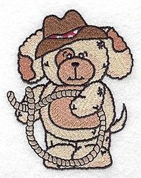 Pudgy Puppy With Lasso embroidery design