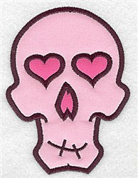 Pink Skull Applique embroidery design