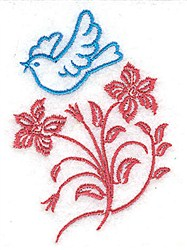 Bluebird and Flowers embroidery design