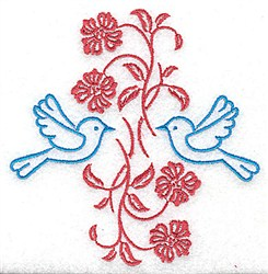 Twin Bluebird Border embroidery design