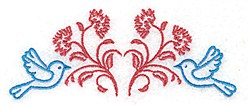 Posies & Bird Motif embroidery design