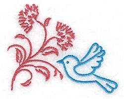 Bluebid & Flower Stem embroidery design