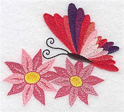 Butterfly Amid Flowers embroidery design