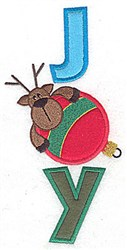 Joy Reindeer Applique embroidery design