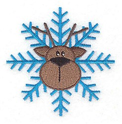 Reindeer Head Snowflake embroidery design