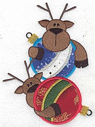 Two Reindeer Applique embroidery design