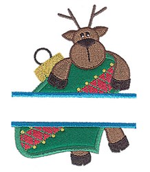 Reindeer Split Applique embroidery design