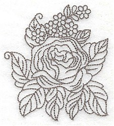 Rose With Flowers embroidery design
