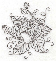 Rose Buds Outline embroidery design