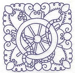 Ships Wheel Block embroidery design