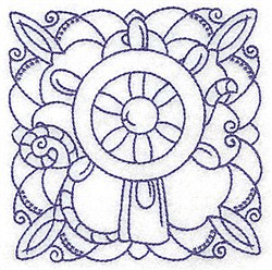 Ships Wheel Block embroidery design