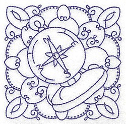 Compass Quilt Block embroidery design