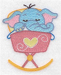 Elephant In Cradle embroidery design