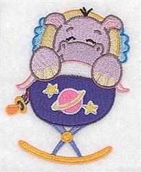 Hippo In Cradle embroidery design