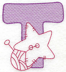 Sewing Letter T embroidery design