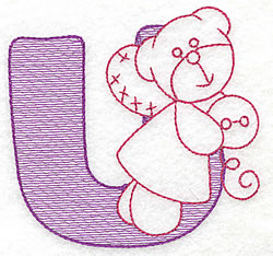 Sewing Letter U embroidery design