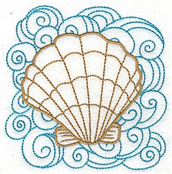 Clam Shell & Swirls embroidery design