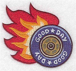 Tire With Flames embroidery design