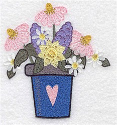Flower Pot Flowers embroidery design