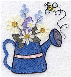 Flowers And Bee embroidery design