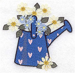 Watering Can Dasies embroidery design