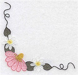 Daisy & Echinacea embroidery design