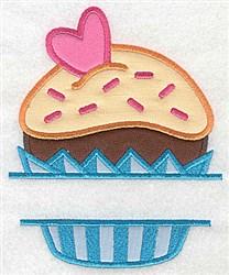 Cupcake Split Applique embroidery design