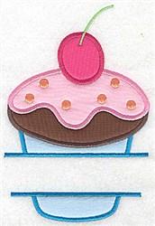 Cherry Cupcake Split embroidery design