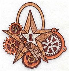 Steampunk Star Lock embroidery design