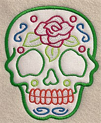 Rose Skull Applique embroidery design