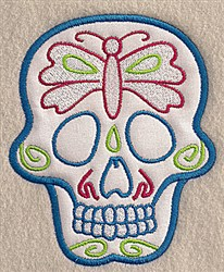 Butterfly Skull Applique embroidery design