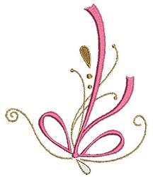 Swirly Floral Ribbon embroidery design