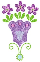 Swirly Purple Flowers embroidery design