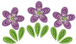 Purple Flowers Trio embroidery design