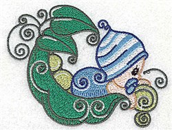Baby Looking Over Peapod embroidery design