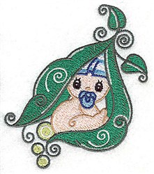Baby Snuggling in Peapod embroidery design