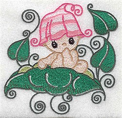 Baby sitting on peapod embroidery design