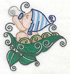 Baby Drinking Bottle on Peapod embroidery design