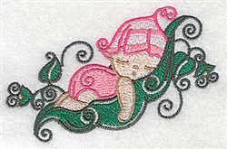 Baby Sleeping on Peapod embroidery design