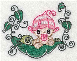Baby on Peapod embroidery design