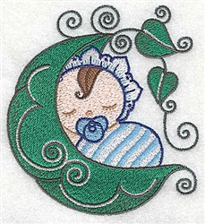 Baby Asleep in Peapod embroidery design