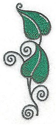 Peapod Swirl Leaves embroidery design