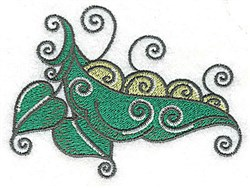 Peapod Leaves Swirls embroidery design