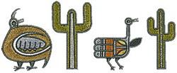 Quail Cactus embroidery design