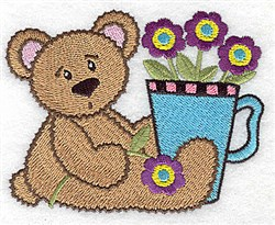 Teddy Teacup Floral embroidery design