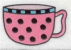 Polka Dot Teacup embroidery design