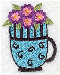Mug Of Flowers embroidery design