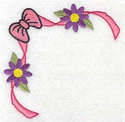Ribbon & Flower Corner embroidery design