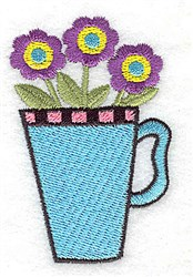 Flowers In Mug embroidery design