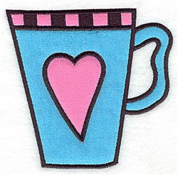 Heart Teacup Applique embroidery design